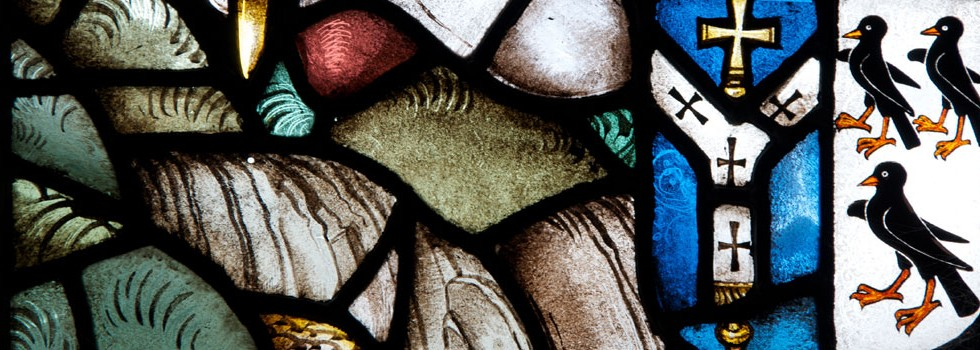 Detail from the stained glass window in the Church of St Thomas of Canterbury