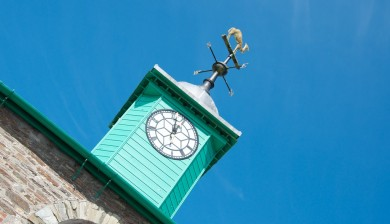 View of the clock tower Camelford Town hall