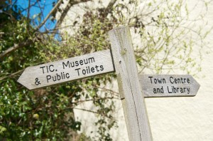 Signposts to places of interest - and convenience - in Camelford
