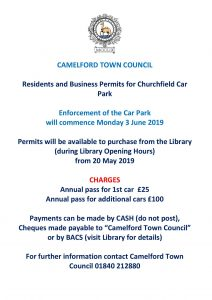 Camelford Town Council » Parking Permits Churchfield Car Park